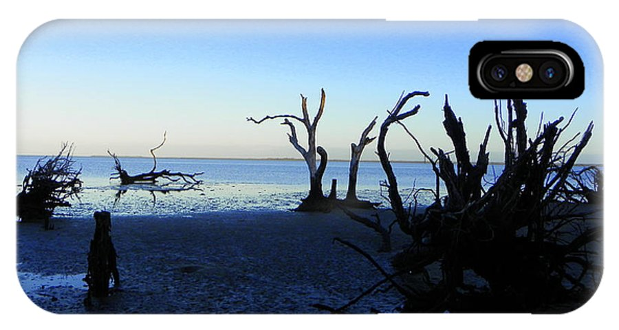 Driftwood IPhone X Case featuring the photograph Driftwood Blues 2 by Sheri McLeroy