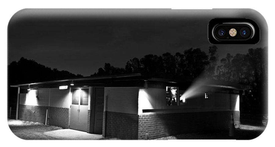 One Of The Last Family Drive Ins In The State Of Florida A Black And White Architecture Fun Movie Popcorn Car Projector Film Brick Wall Snack Bar Food Sales Ticket IPhone X / XS Case featuring the photograph Drive In America by Nicholas Evans