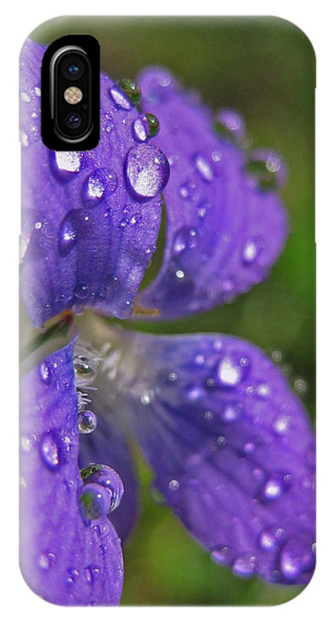 Macro IPhone X Case featuring the photograph Drops On The Purple Flower by Mary Anne Williams