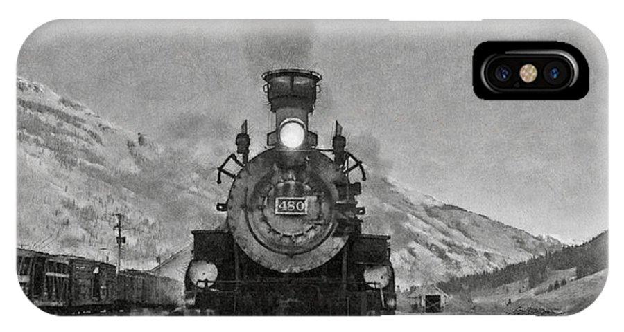 Durango IPhone X Case featuring the digital art Durango Silverton Bw Painterly 3 by Ernie Echols