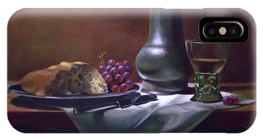 Still Life IPhone X Case featuring the painting Dutch Roemer With Bread And Grapes by Tom Jennerwein