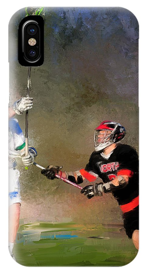 Lacrosse IPhone X Case featuring the painting Eagan Defense by Scott Melby