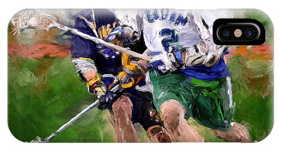 Lacrosse IPhone X Case featuring the painting Eagan Midfielder by Scott Melby