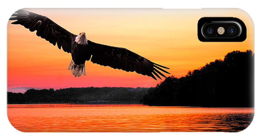 Eagle IPhone X Case featuring the photograph Eagle At Break Of Dawn by Randall Branham