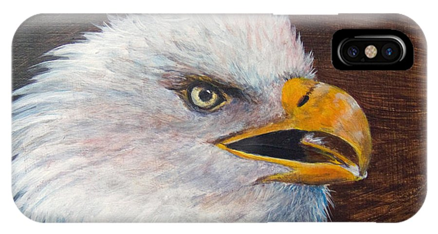 Eagle IPhone X Case featuring the painting Eagle Study by Dee Carpenter