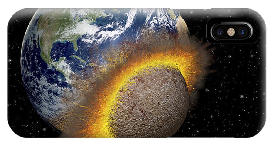 Digitally Generated Image IPhone X Case featuring the digital art Earth Colliding With A Mars-sized by Ron Miller