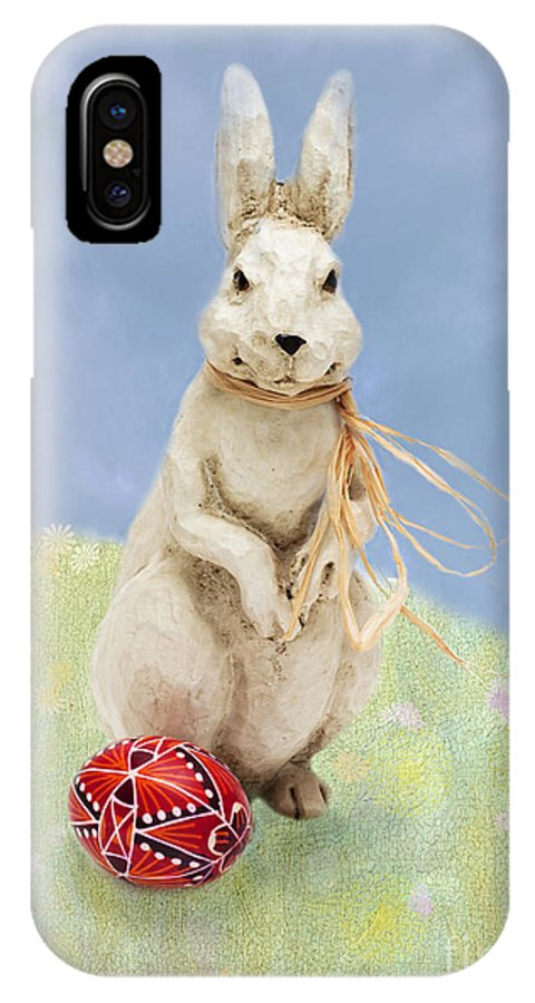 Easter IPhone X Case featuring the photograph Easter Bunny With A Painted Egg by Louise Heusinkveld