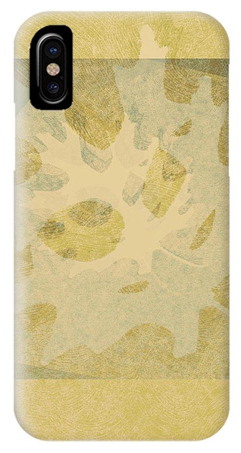 Leaf IPhone X Case featuring the mixed media Ecru Leaf by Ann Powell