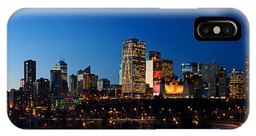 Edmonton Skyline IPhone X Case featuring the photograph Edmonton Skyline Panorama 2 by Terry Elniski