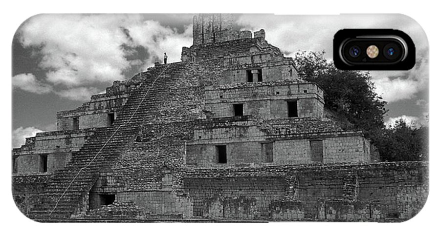 Mexico IPhone X Case featuring the photograph Edzna Pyramid Climber Campeche Mexico by John Mitchell