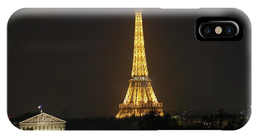 Eiffel Tower IPhone X / XS Case featuring the photograph Eiffel Tower At Night by Jennifer Ancker