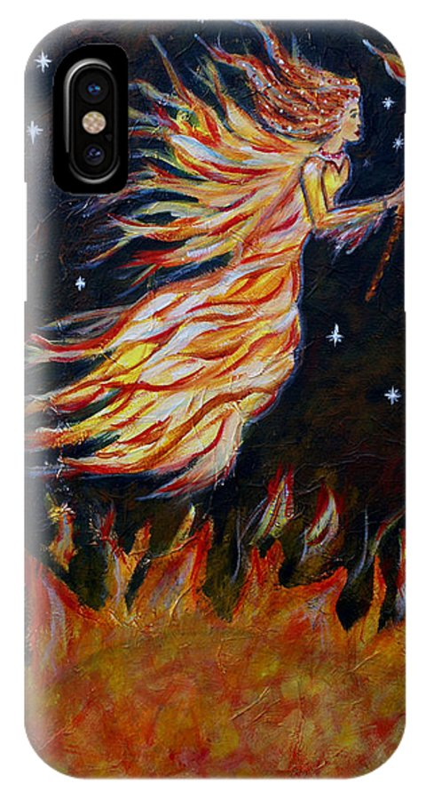 Angel IPhone X Case featuring the painting Elemental Earth Angel Of Fire by The Art With A Heart By Charlotte Phillips