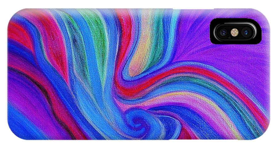 Multi Color IPhone X Case featuring the painting Embryo 1 by Gwen Baptiste