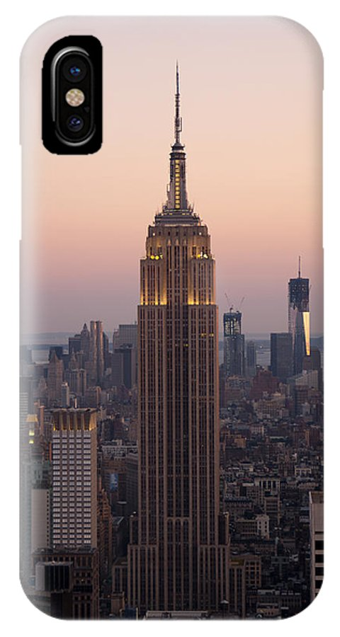 Empire State Building IPhone X Case featuring the photograph Empire Sunset by Michael Dorn