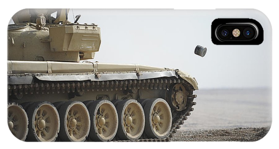 Iraqi Army IPhone X Case featuring the photograph Empty Casings Eject From An Iraqi T-72 by Stocktrek Images
