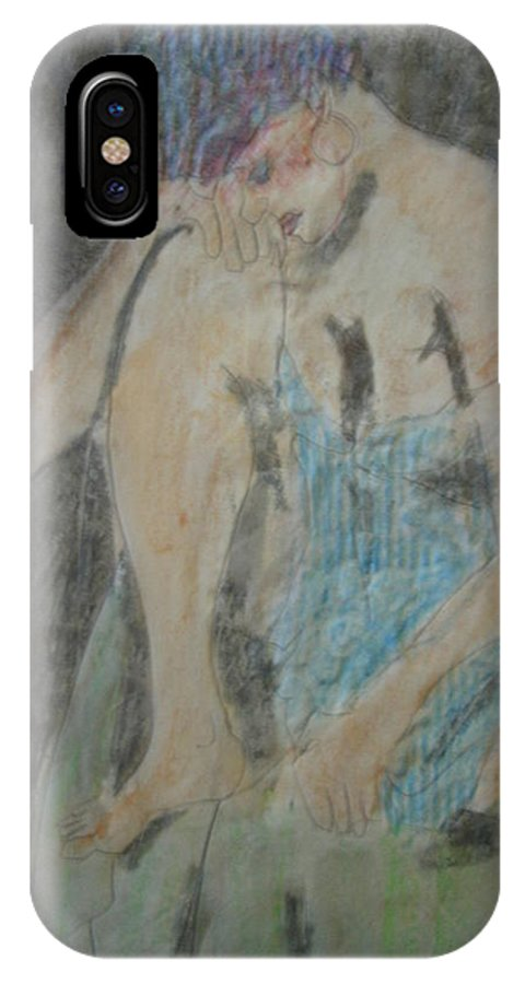Female Figure IPhone X Case featuring the drawing Enough by Diane montana Jansson