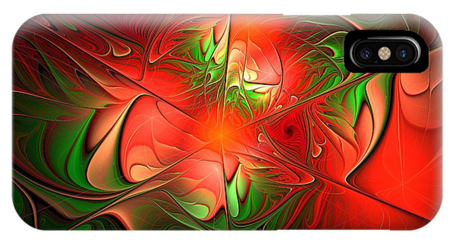 Eruption IPhone X Case featuring the digital art Eruption - Abstract Art by Georgiana Romanovna
