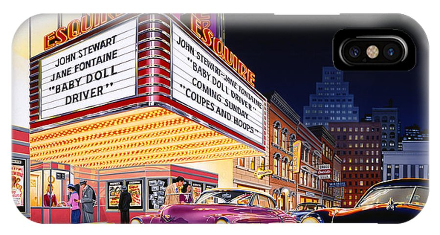 Car IPhone X Case featuring the photograph Esquire Theater by Bruce Kaiser