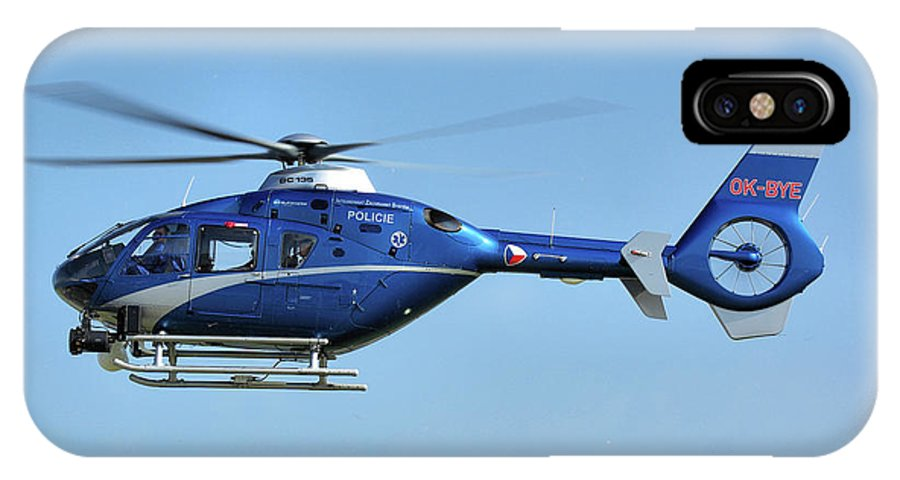 Eurocopter Ec135 Ok-bye Czech Republic Police Nato Air Days Ostrava September 2011 Helicopter Aircraft Airplane Aeroplane IPhone X / XS Case featuring the photograph Eurocopter Ec135 by Tim Beach
