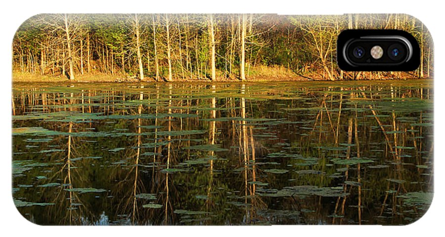 Pond IPhone X Case featuring the photograph Evening Light On A Missouri Pond I by Greg Matchick
