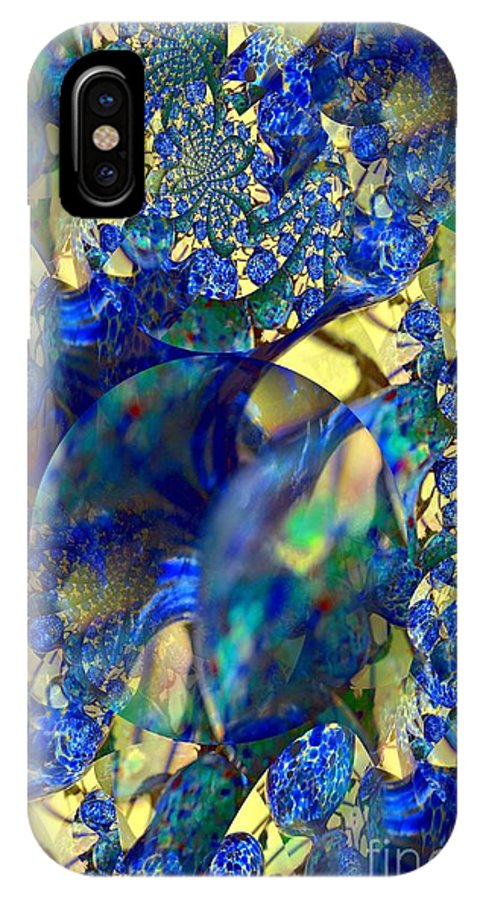 Exquisitely IPhone X / XS Case featuring the digital art Exquisitely Blue by Maria Urso