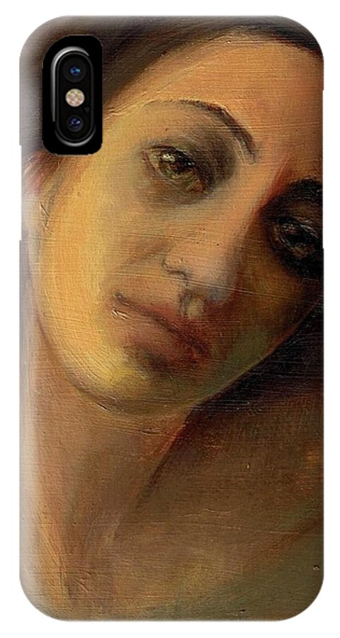 Femaile Portrait IPhone X Case featuring the painting Face 1 by Lala Aliyeva