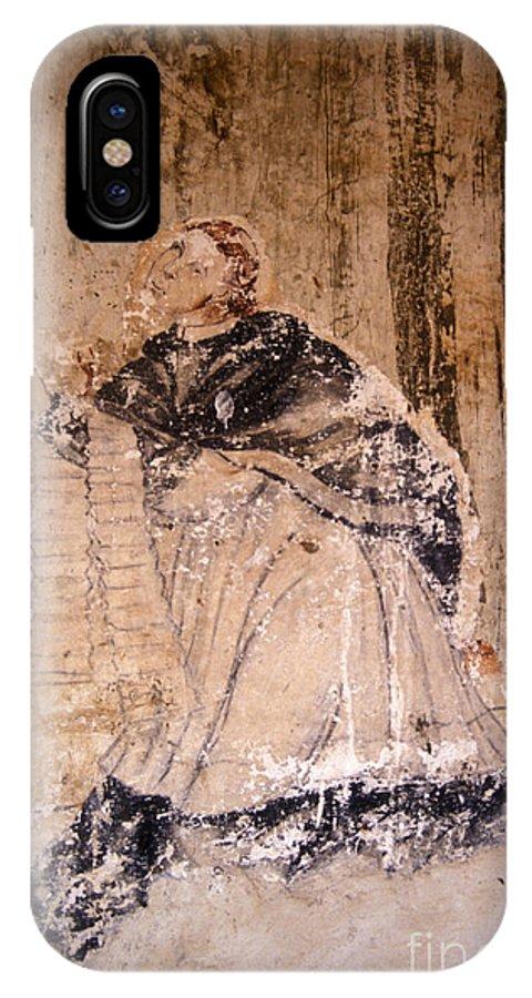 Faded Religious Mural In The 16th Century Ex Convento De San Francisco In Tzintzuntzan On Lake Patzcuaro IPhone X Case featuring the photograph Faded Religious Mural Mexico by John Mitchell