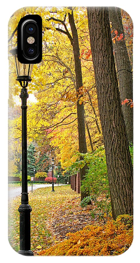Fall Color IPhone X Case featuring the photograph Fall Color And Lamppost by Jack Schultz