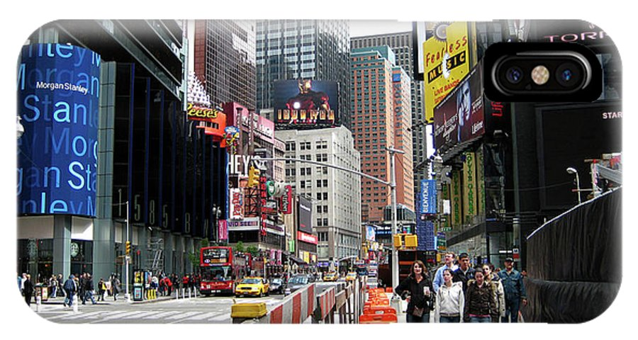 Times Square Street IPhone X / XS Case featuring the photograph Amidst Color And Construction In Times Square by Lorraine Devon Wilke