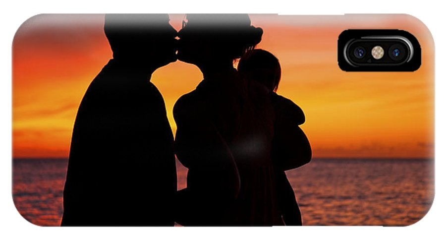 Baby IPhone X Case featuring the photograph Family Silhouettes At Sunset by Vince Cavataio - Printscapes