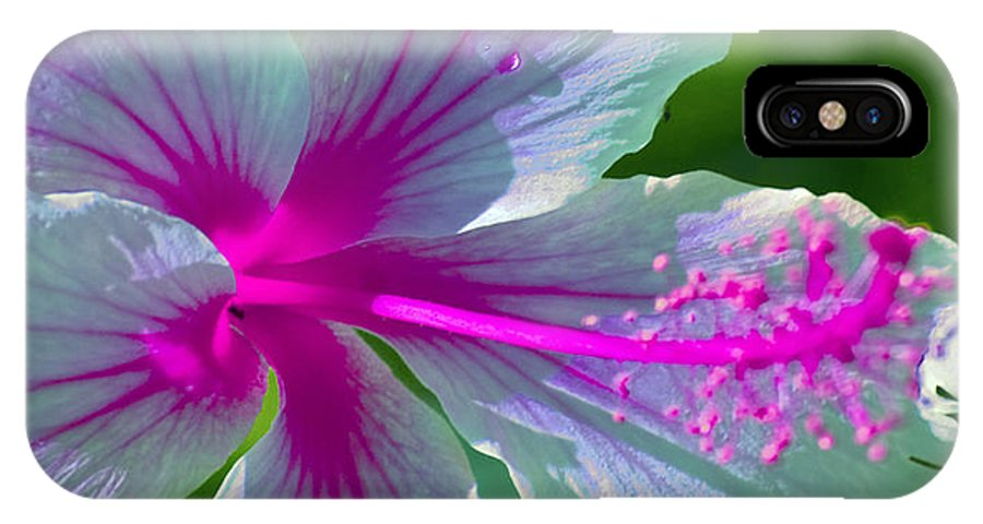 Floral IPhone X Case featuring the photograph Fanciful Hibiscus by Karen Lewis