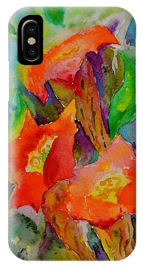Watercolor IPhone X / XS Case featuring the painting Fanfare by Beverley Harper Tinsley