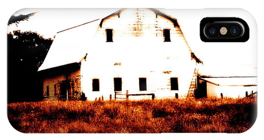 Barn IPhone X Case featuring the digital art Farm Used Up by Kathy Sampson