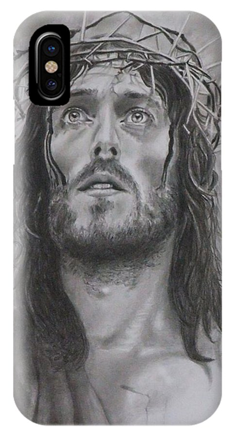 Jesus IPhone X Case featuring the drawing Father Forgive Them... by Mike OConnell