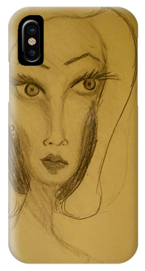 IPhone X Case featuring the drawing Fawny Eyes by Laurette Escobar