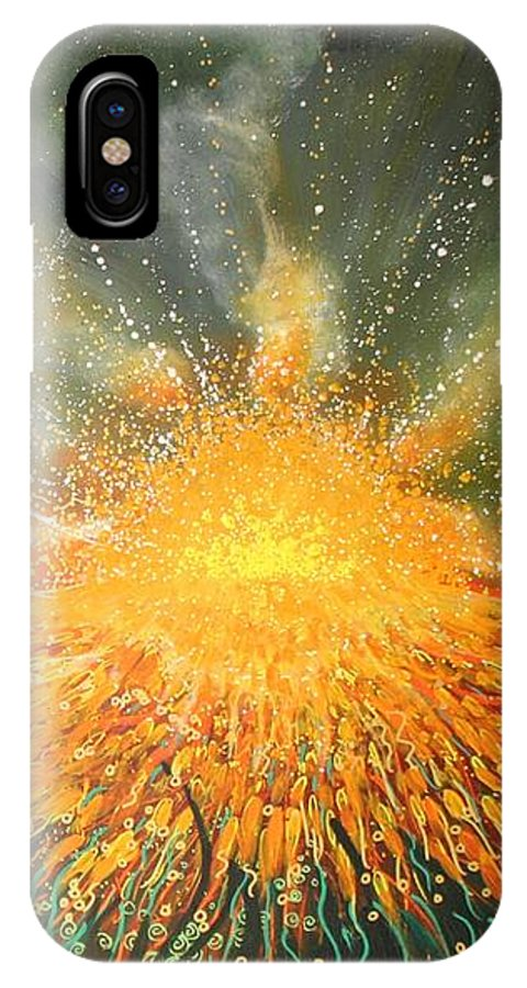 Sun IPhone X Case featuring the painting Field Of Gold by Naomi Walker