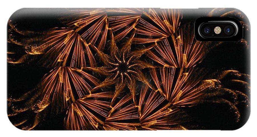 Digital IPhone X Case featuring the digital art Fiery Pinwheel by Rhonda Barrett