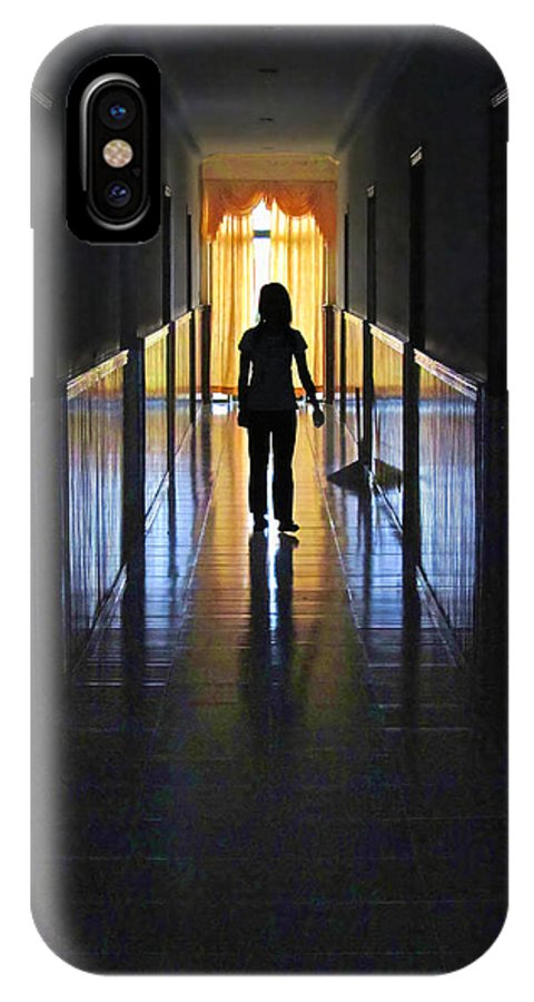 Contrast IPhone X Case featuring the photograph Figure In The Corridor by Mark Sellers