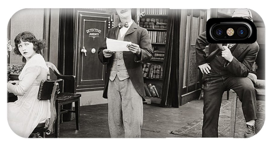 -nec11- IPhone X Case featuring the photograph Film Still: Sleuths, 1919 by Granger