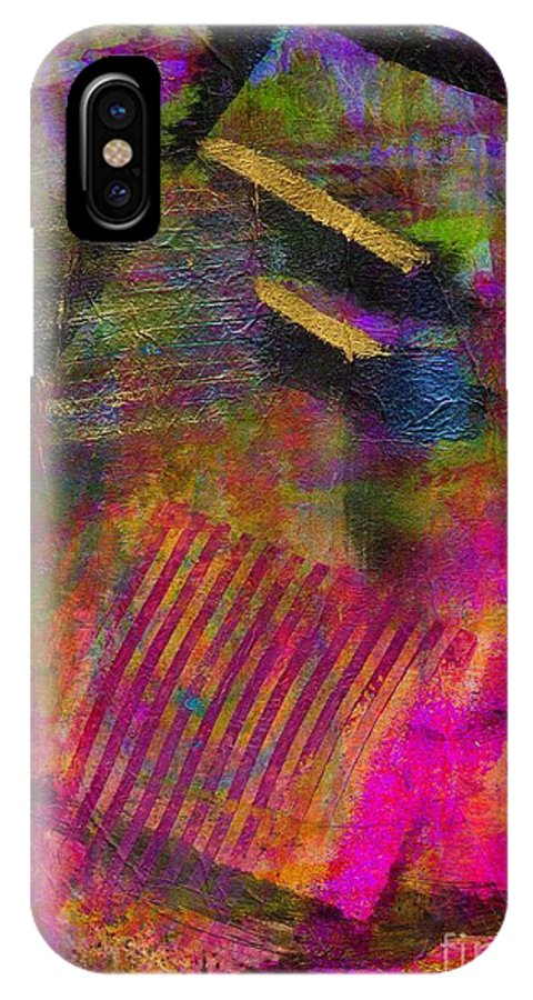 Pink IPhone X Case featuring the painting Finding Gold After A Very Long Search by Angela L Walker