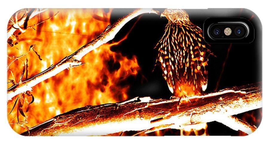 Fire IPhone X Case featuring the digital art Fire Hawk 0112 by James Ahn