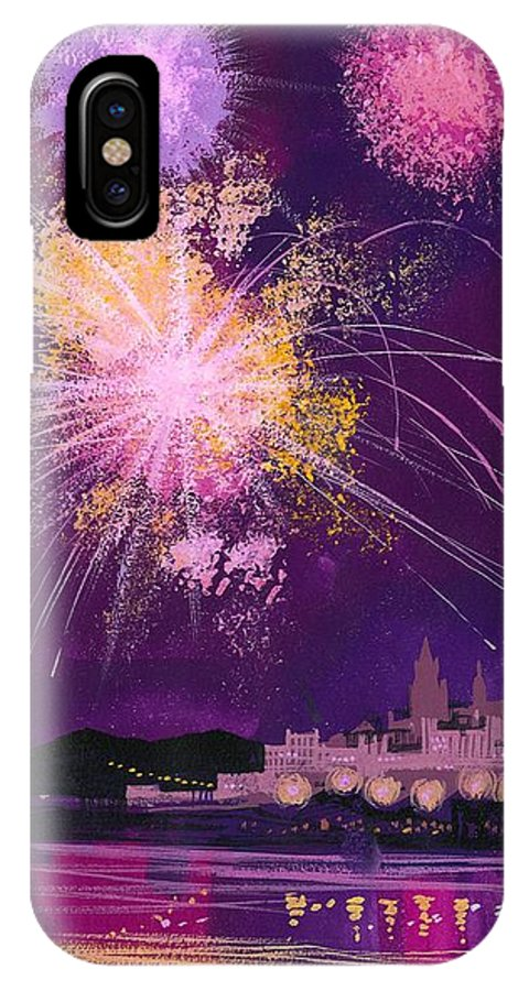 Fireworks In Malta IPhone X Case featuring the painting Fireworks In Malta by Angss McBride