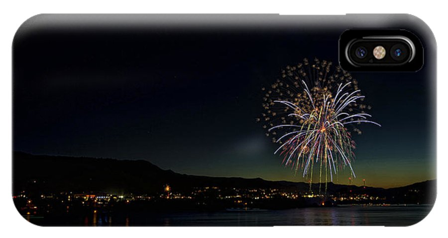Hdr IPhone X Case featuring the photograph Fireworks On The River by Brad Granger