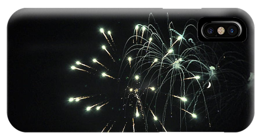 Fireworks IPhone X Case featuring the photograph Fireworks With Moon II Fm2p by Jim Brage