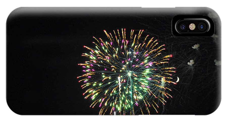 Fireworks IPhone X Case featuring the photograph Fireworks With Moon IIi Fm3p by Jim Brage
