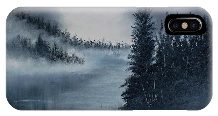 Monochromatic IPhone X Case featuring the painting First Light by Peggy King