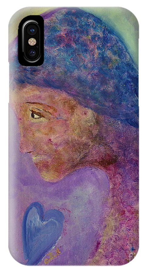 Girl IPhone X Case featuring the painting First Love by Claire Bull