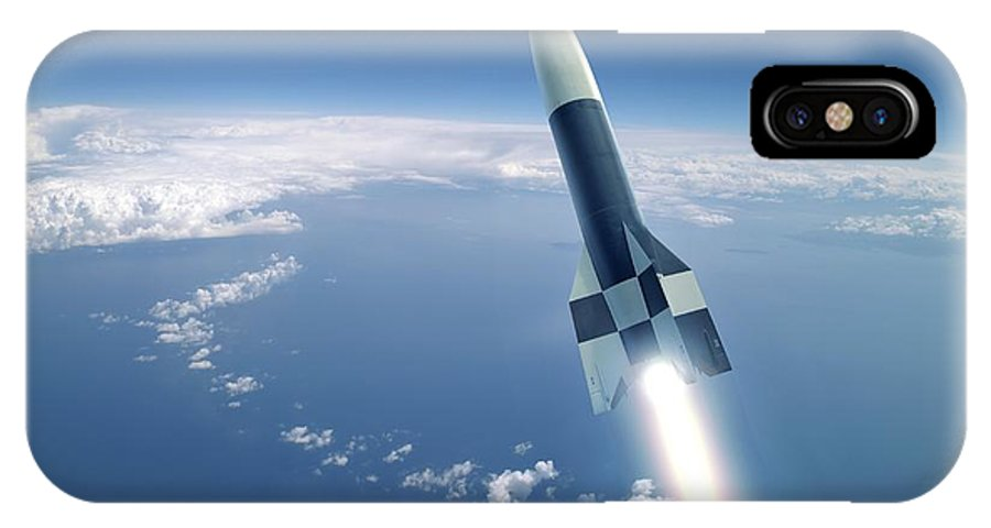 A-4 IPhone X / XS Case featuring the photograph First V-2 Rocket Launch, Artwork by Detlev Van Ravenswaay