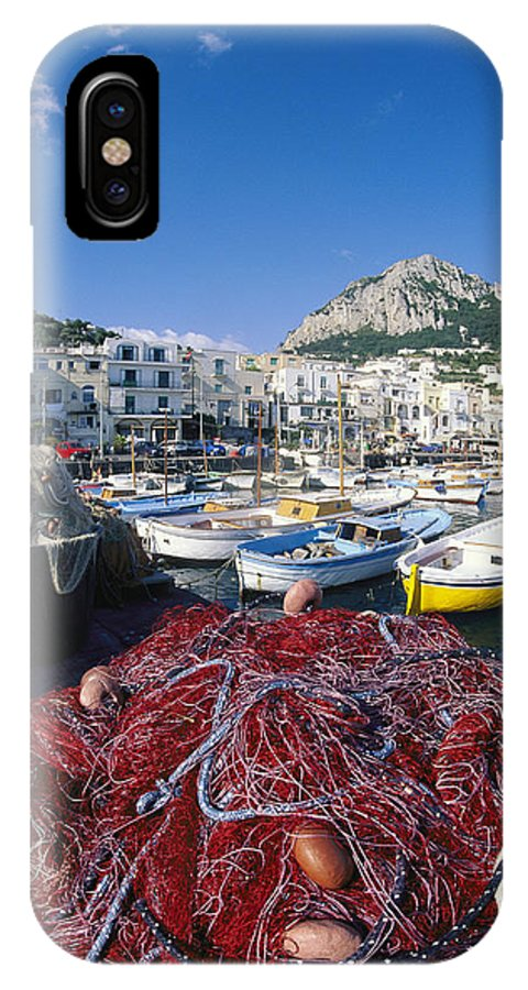 Europe IPhone X / XS Case featuring the photograph Fishing Boats And Nets In The Marina by Richard Nowitz