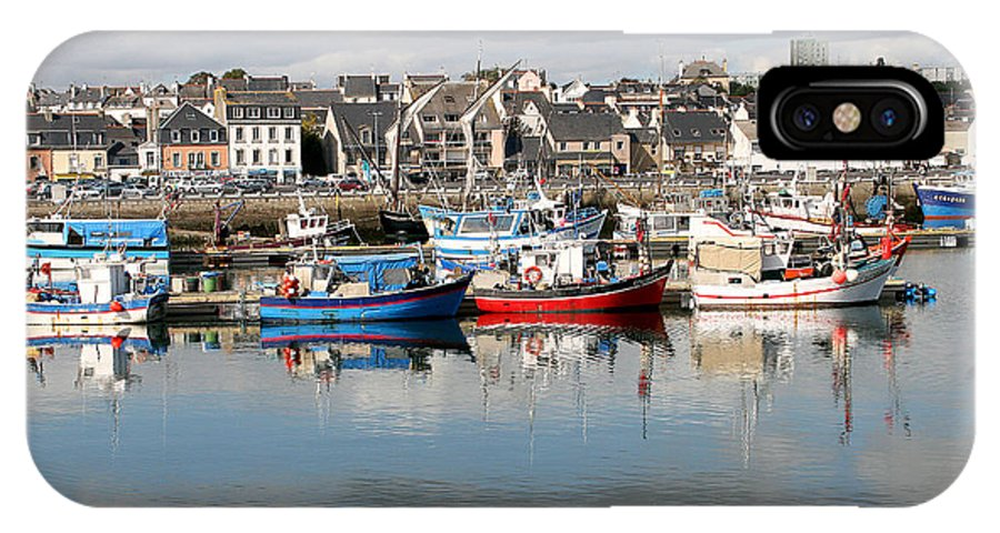 Boats IPhone X Case featuring the photograph Fishing Boats In The Harbor by Diana Haronis